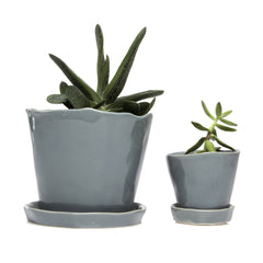 Big Tika Planter  and Little Tika - Medium Grey, ceramic potted planter