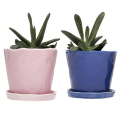 Chive Big Tika - Ceramic large pots with saucer and drainage hole
