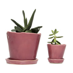 Big Tika Planter and Little Tika Planter - Raspberry, ceramic potted planter
