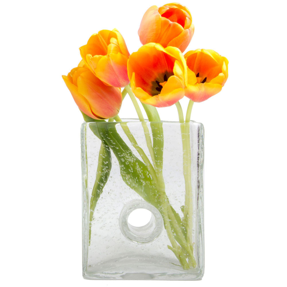 Chive, Bliss - Medium Square Clear heavy glass long stem flower vase