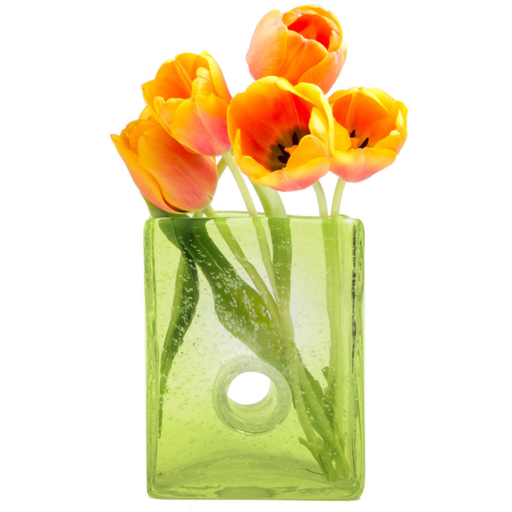 Chive, Bliss - Medium Square Peridot heavy glass long stem flower vase