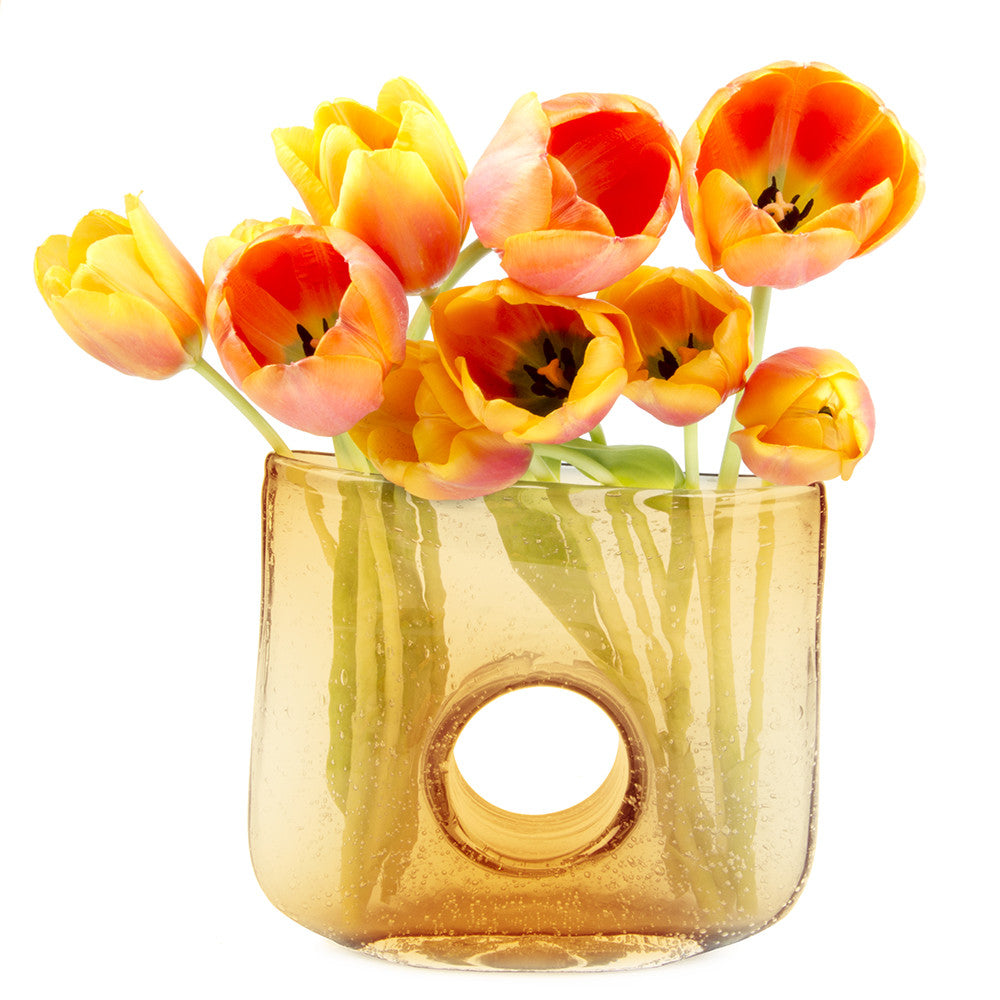 Chive, Bliss - Rectangle amber heavy glass long stem flower vase