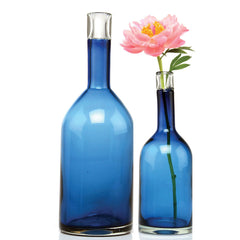 Chive, Bottle - Large Blue heavy glass long single stem flower vase