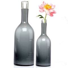 Chive, Bottle - Large Grey heavy glass long single stem flower vase