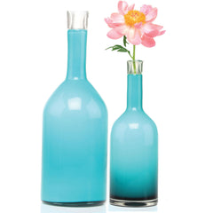 Chive, Bottle - Large Turquois heavy glass long single stem flower vase