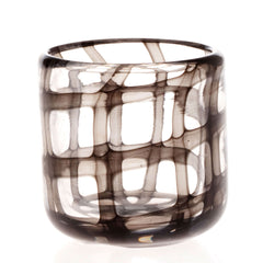 Chive, Black and White - Cup Black glass wide mouth  short flower vase