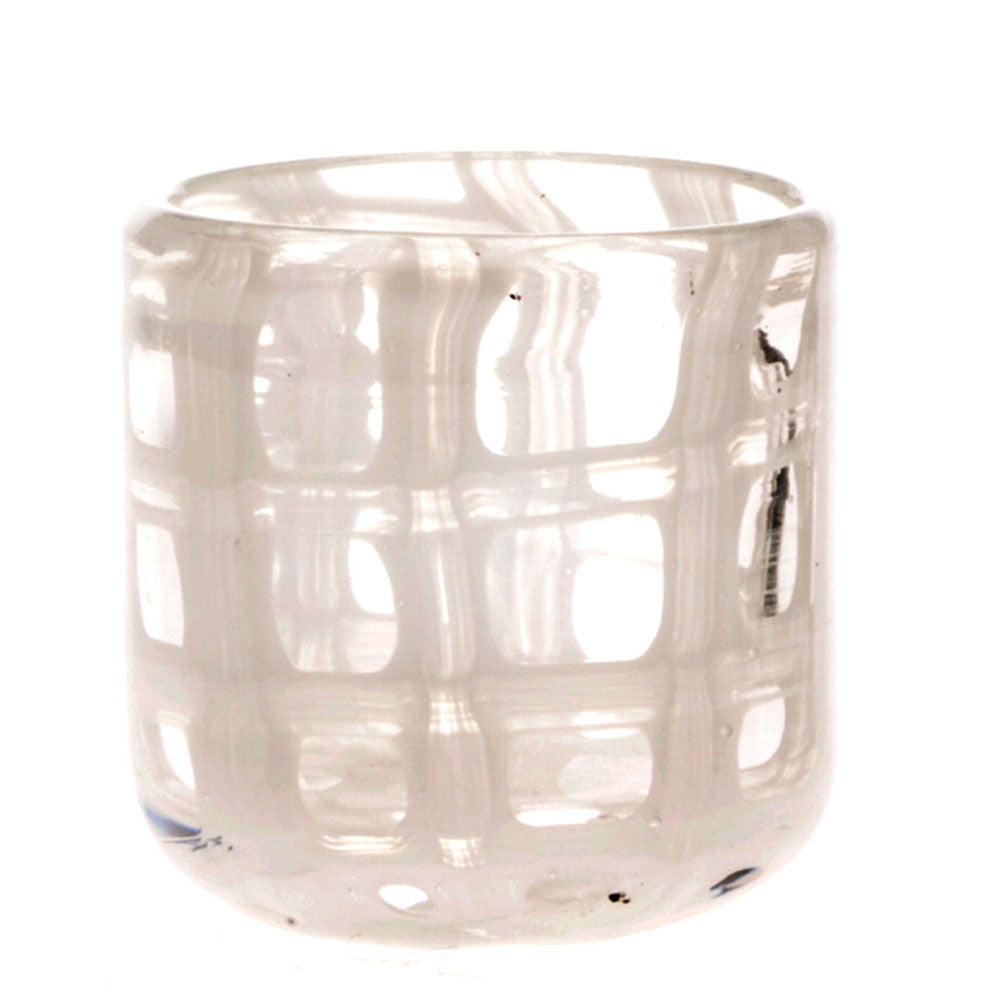 Chive, Black and White - Cup White glass wide mouth  short flower vase