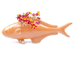 Chive, Carp - Orange Porcelain Fish Bud Vase