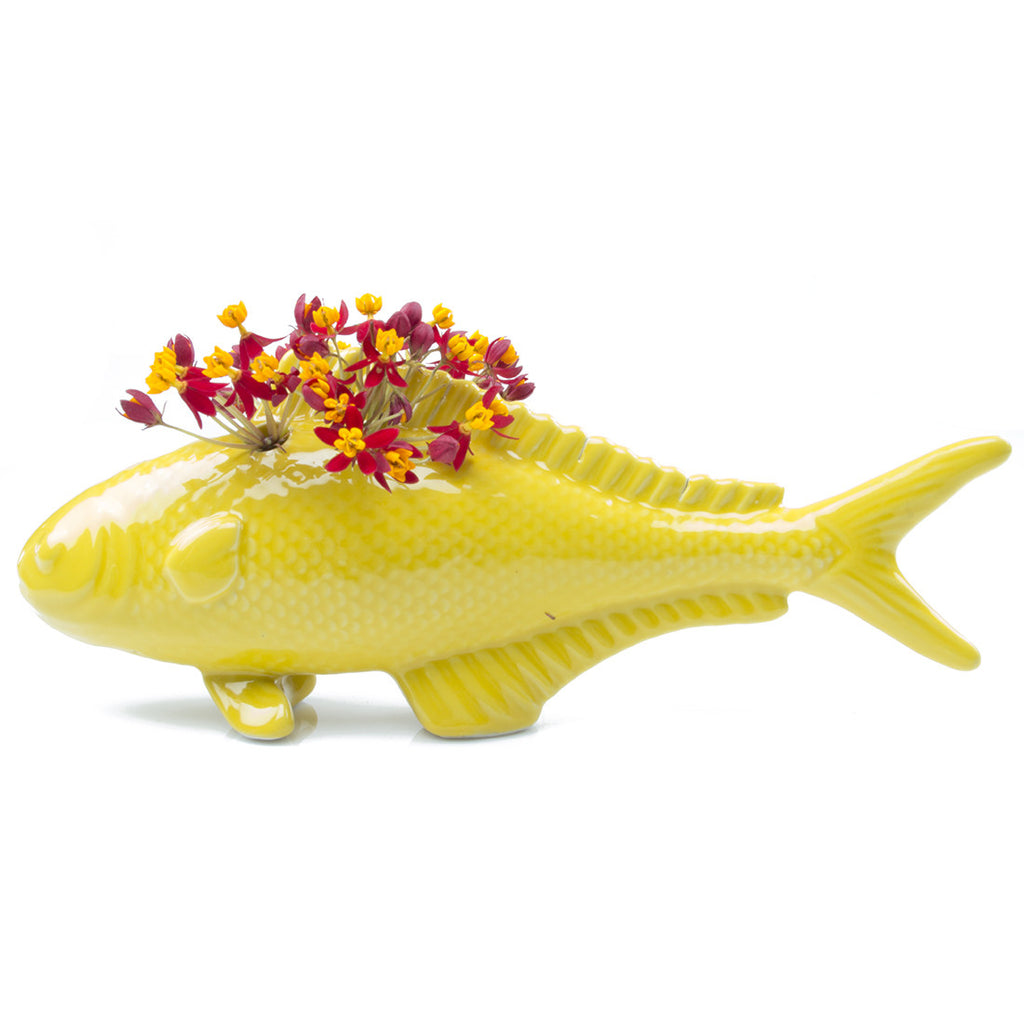 Chive, Carp - Yellow Porcelain Fish Bud Vase