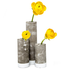 Chive, Cement - Group Small, Medium and Large Tube Flower Vase
