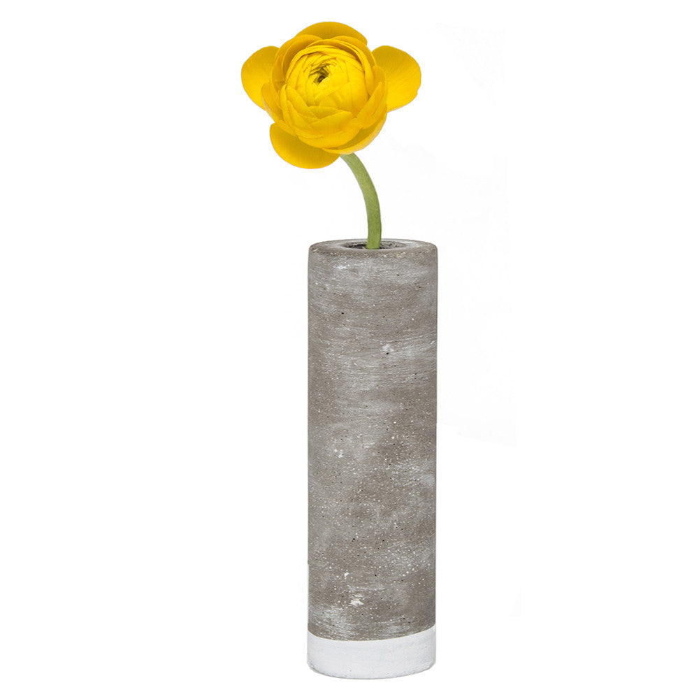 Chive, Cement - Large Tube Flower Vase