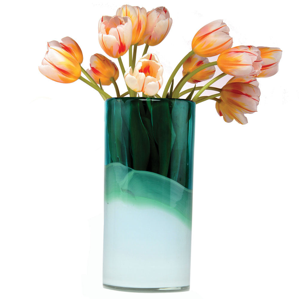 Chive, Chelsea Tall Aqua Long Heavy Glass Flower Vase