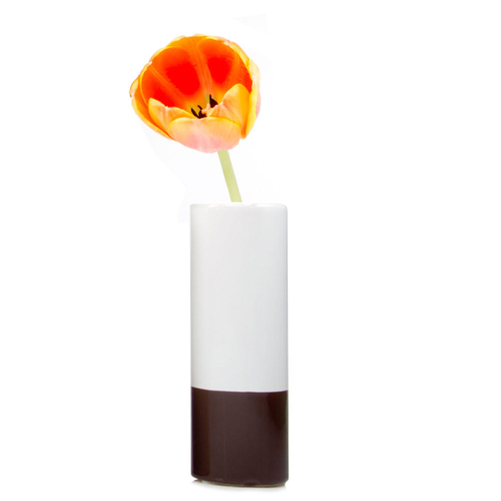 Chive, Crayon - Chocolate tube shaped ceramic long stem flower vase