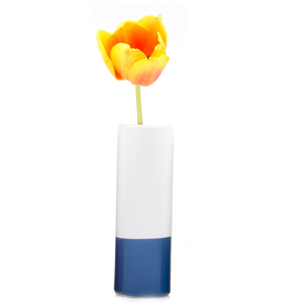 Chive, Crayon - Blue tube shaped ceramic long stem flower vase