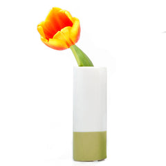 Chive, Crayon - Olive tube shaped ceramic long stem flower vase