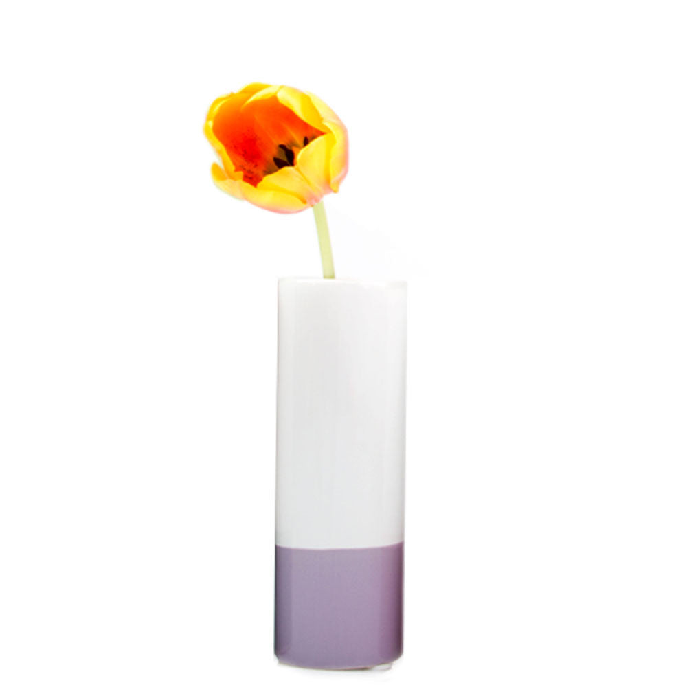 Chive, Crayon - Lilac tube shaped ceramic long stem flower vase