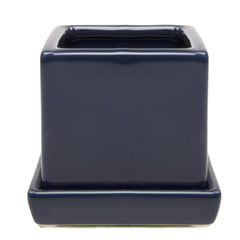 Chive Cube and Saucer - Navy, Cube Ceramic Pot and Saucer Empty