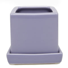 Chive Cube and Saucer - Periwinkle, Cube Ceramic Pot and Saucer Empty