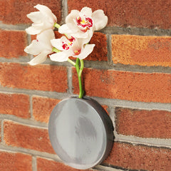 Chive Dot - Charcoal Round Ceramic Wall Mount Flower Vase