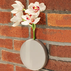 Chive Dot - Grey Round Ceramic Wall Mount Flower Vase