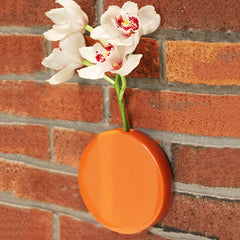 Chive Dot - Orange Round Ceramic Wall Mount Flower Vase