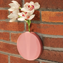 Chive Dot - Pink Round Ceramic Wall Mount Flower Vase