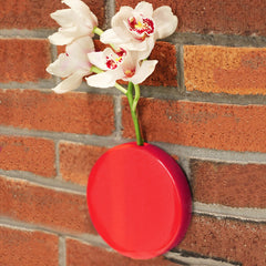 Chive Dot - Red Round Ceramic Wall Mount Flower Vase