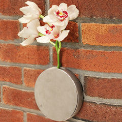 Chive Dot - Silver Round Ceramic Wall Mount Flower Vase