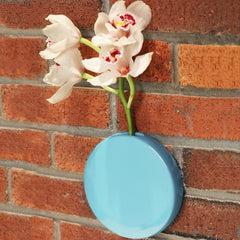 Chive Dot - Sky Blue Round Ceramic Wall Mount Flower Vase