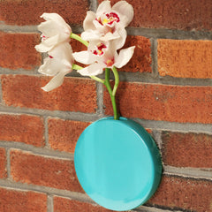 Chive Dot - Teal Round Ceramic Wall Mount Flower Vase