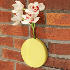 Chive Dot - Yellow Round Ceramic Wall Mount Flower Vase