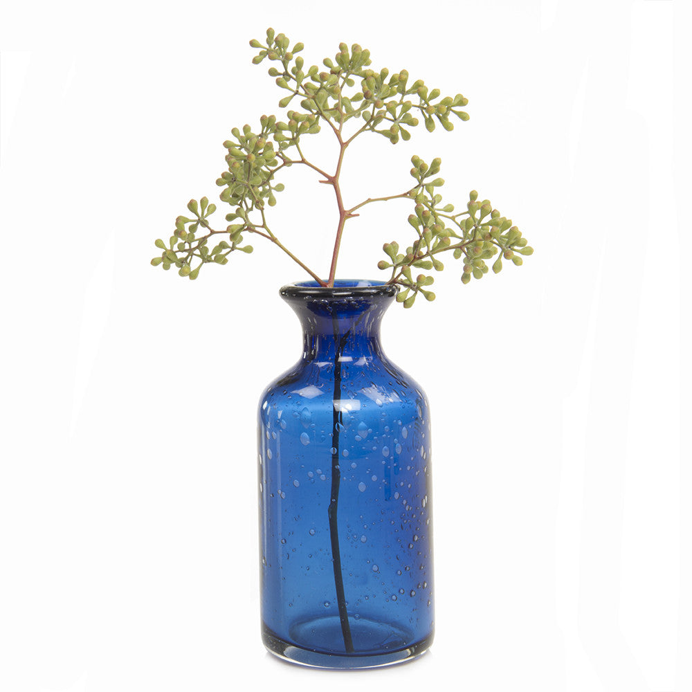 Chive Elixar - Blue, Small Bottle Glass Bud Vase