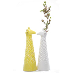 Chive, Giraffe - Yellow and White Ceramic Animal Decorative Vase, Side-view