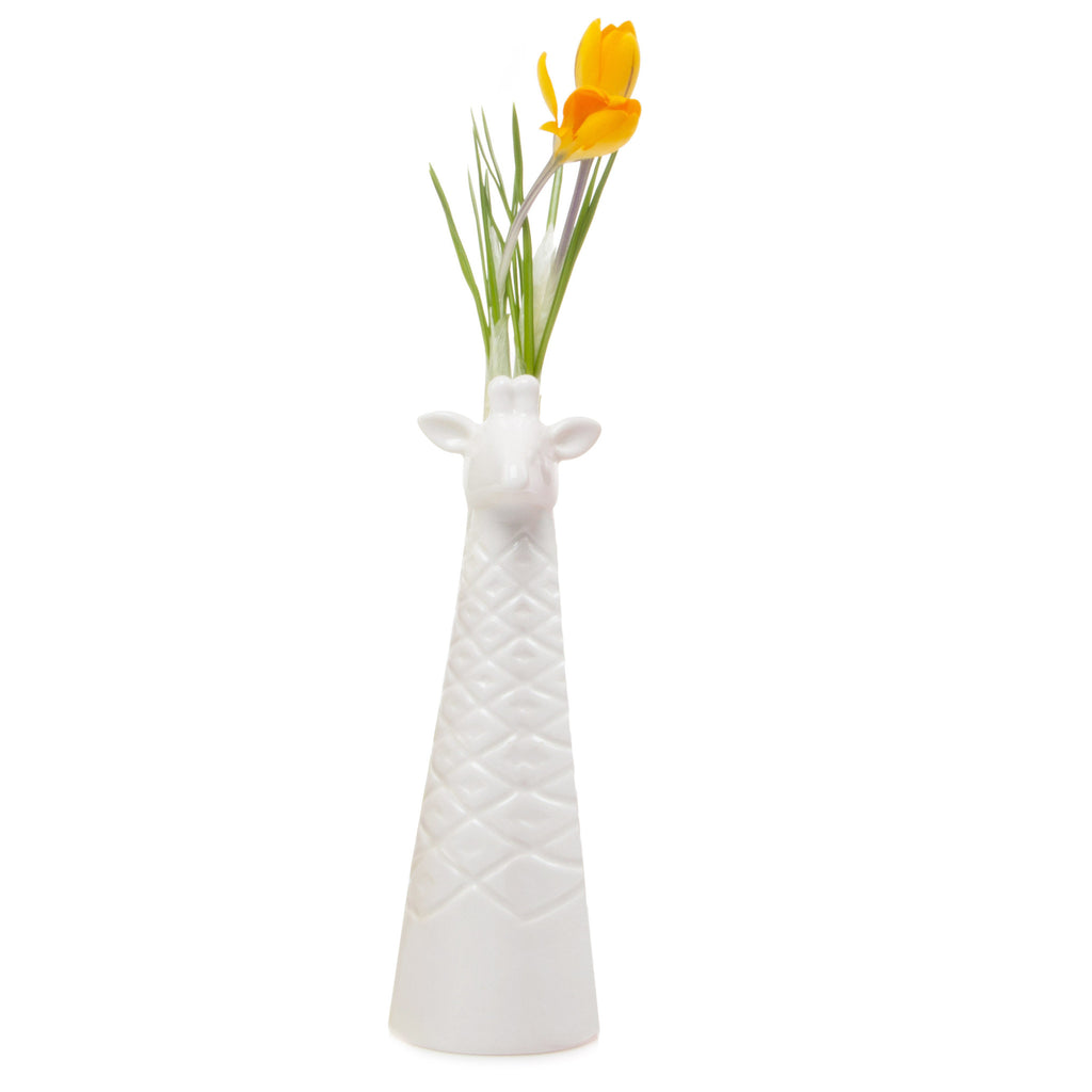 Chive, Giraffe - White Ceramic Animal Decorative Vase