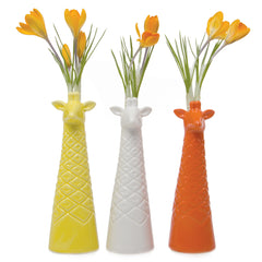 Chive, Giraffe - Yellow, White and Orange Ceramic Animal Decorative Vase, Group
