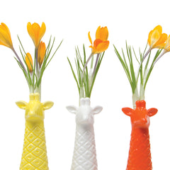 Chive, Giraffe - Yellow, White and Orange Ceramic Animal Decorative Vase, Close Up