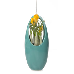 Chive, Hanging Aerium - Egg Green Grey, ceramic hanging oval planter