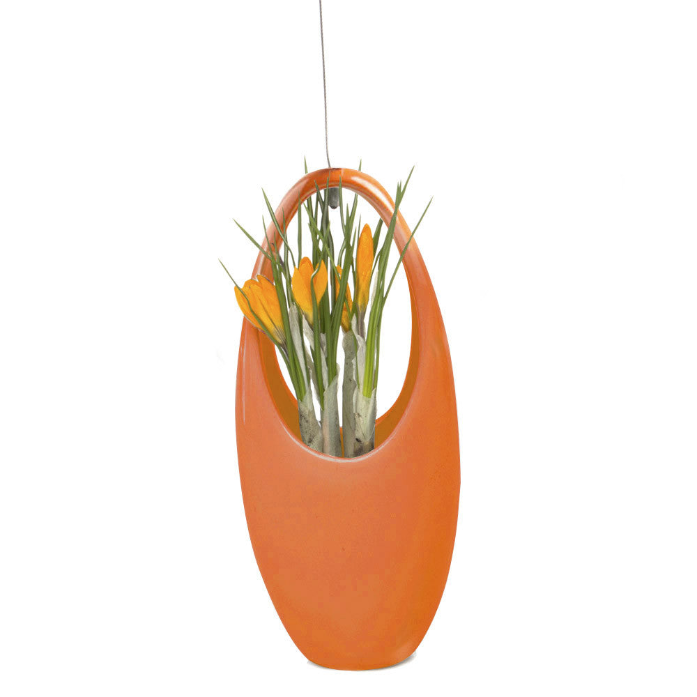 Chive, Hanging Aerium - Egg Orange ceramic hanging oval planter