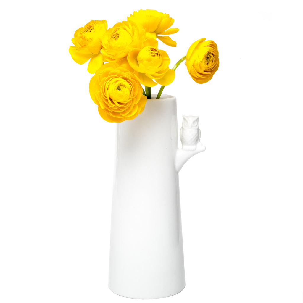 Chive, Hoot - White Ceramic Long Stem Flower Vase