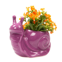 Jett the Snail - Purple Ceramic Flower Pot