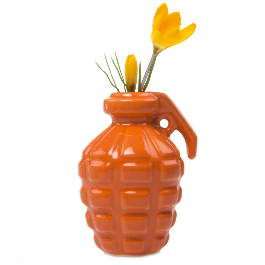 Chive, Kapow - Orange Grenade Shape Ceramic Flower Vase