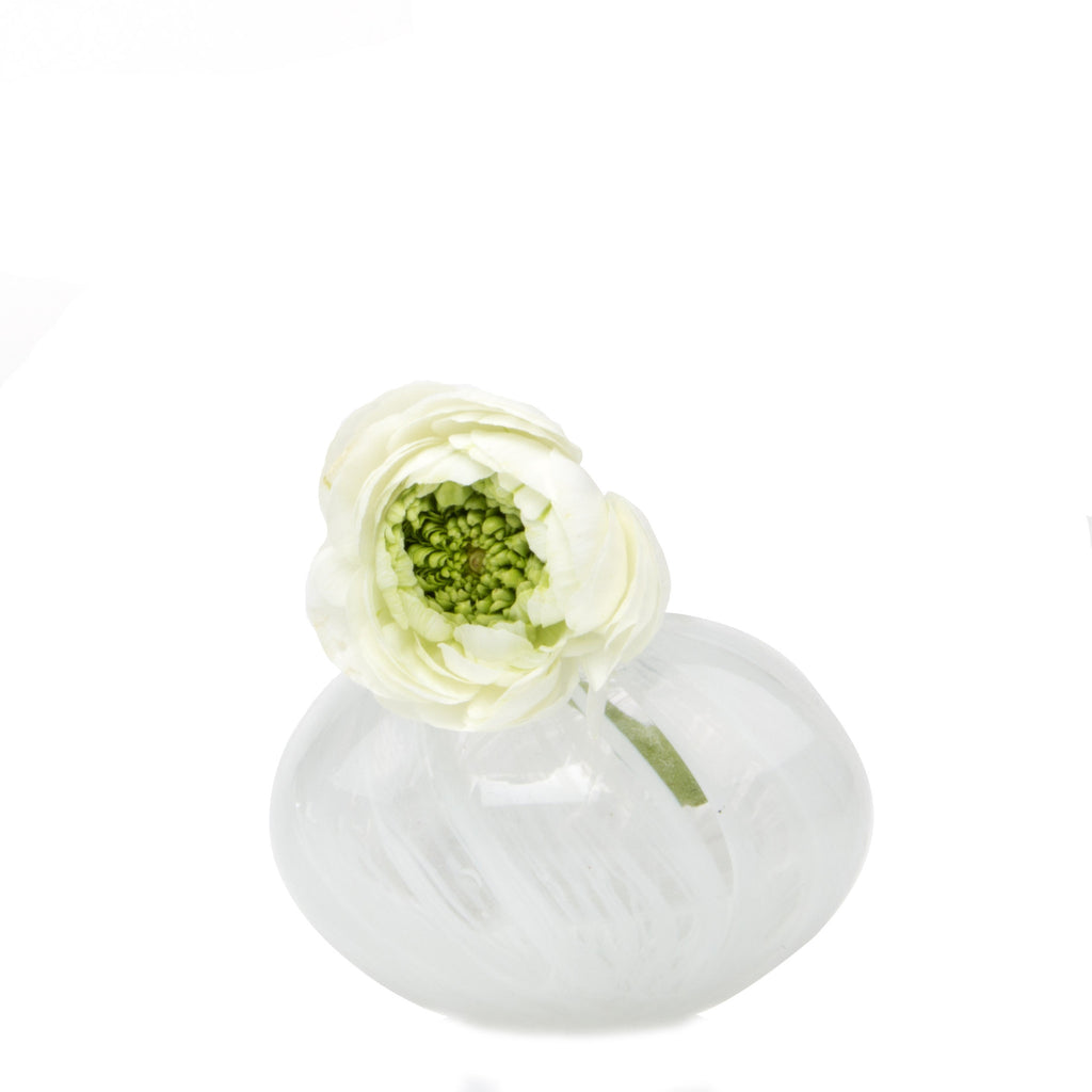 Ligne - Gourd White, Heavy Glass Event Vase