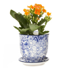 Chive Liberte - Blue Classic Patterned Porcelain Small Pots and Saucers with drainage hole