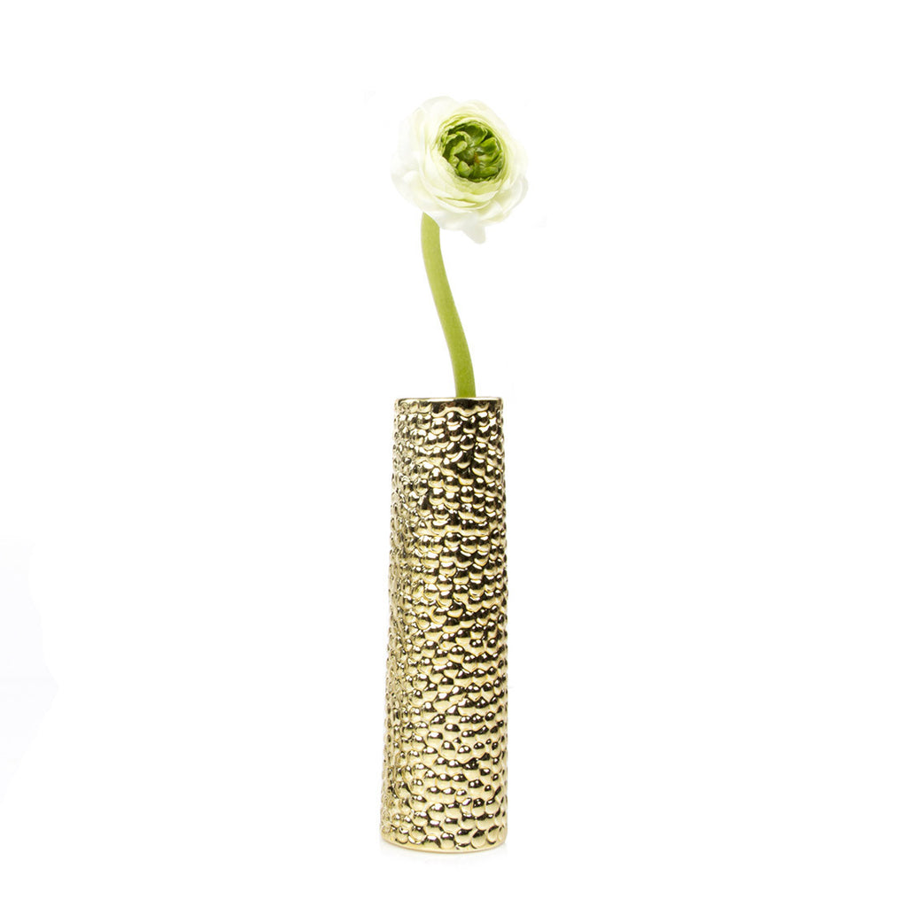 Miami - Gold Bubble, tube ceramic textured decorative vase