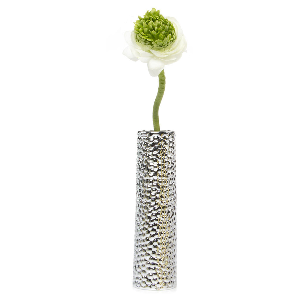 Miami - Silver Bubble, tube ceramic textured decorative vase