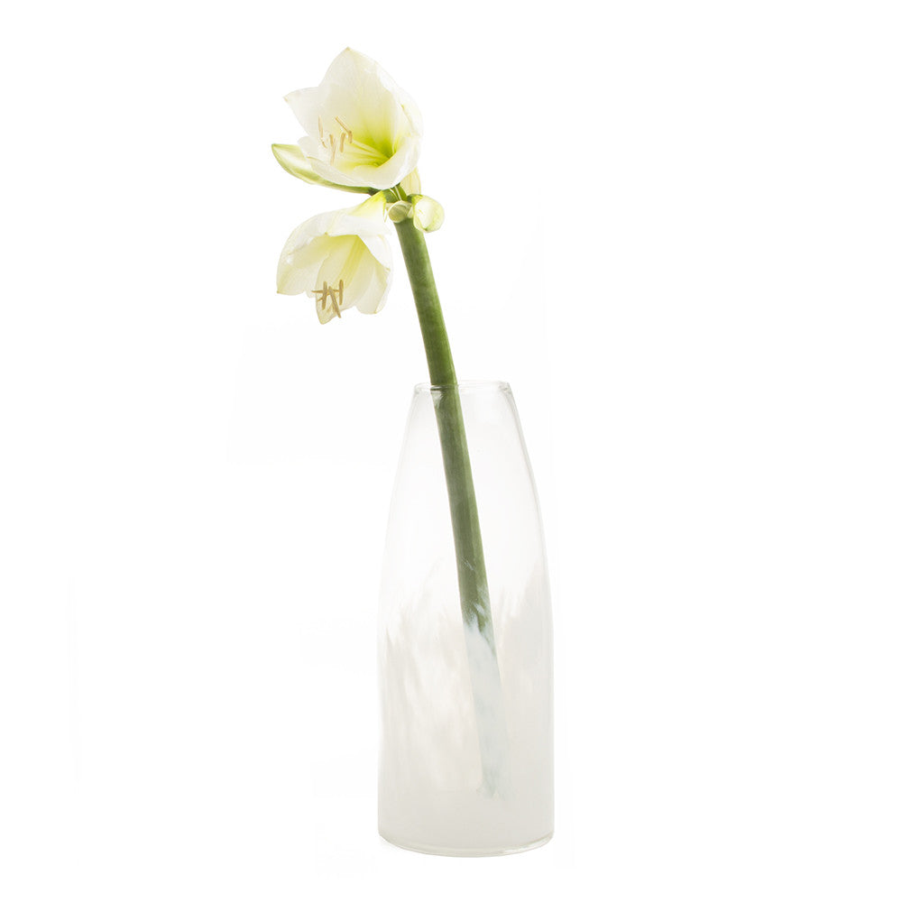 Chive Mist - Tall, large heavy hand blown flower vase