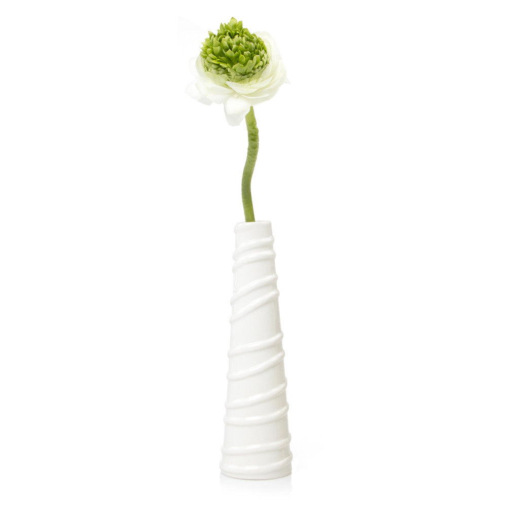 Miami - White Lines, tube ceramic textured decorative vase