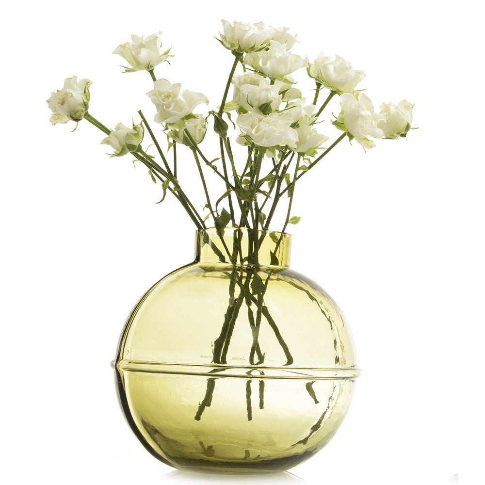 Chive Nantucket - Olive, Large Heavy Glass Nautical Statement Flower Vase