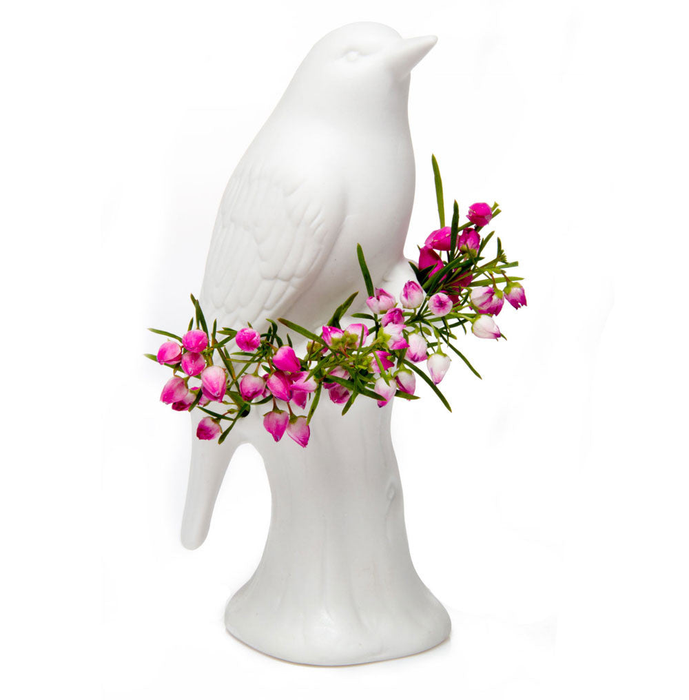 Chive, Porcelain Bird - White Decorative Bud Vase