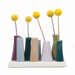 pooley 2 - 8 tube eggplant ceramic flower vase
